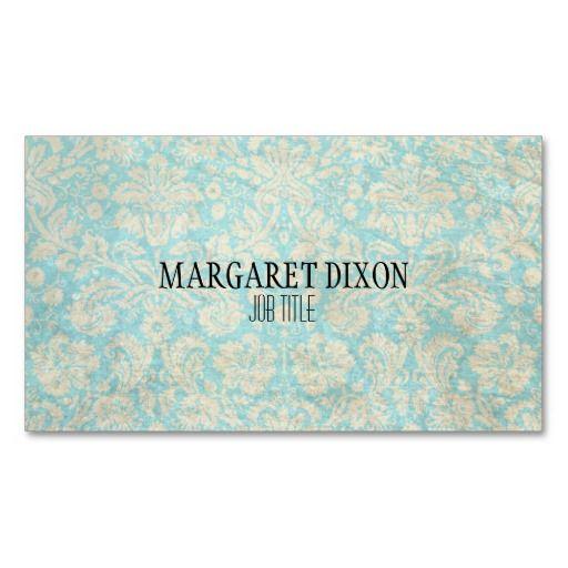 Verde azul da cerceta floral do damasco do vintage modelo cartões de visita