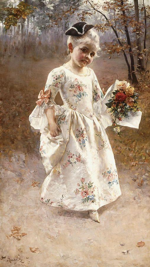 The Little Flower Girl by Albert Raudnitz (German 1814-1899)