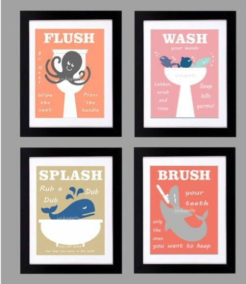 divertidos cuadros para baño de niños