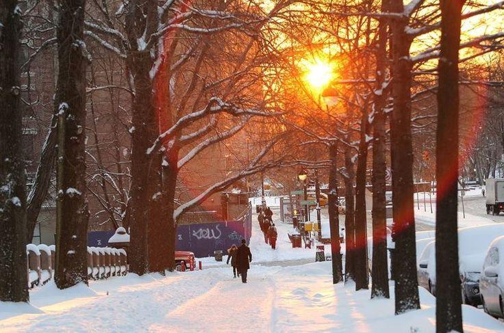 Amanhecer com temperaturas negativas e muita neve em Nova York! #DestinosEssenciais