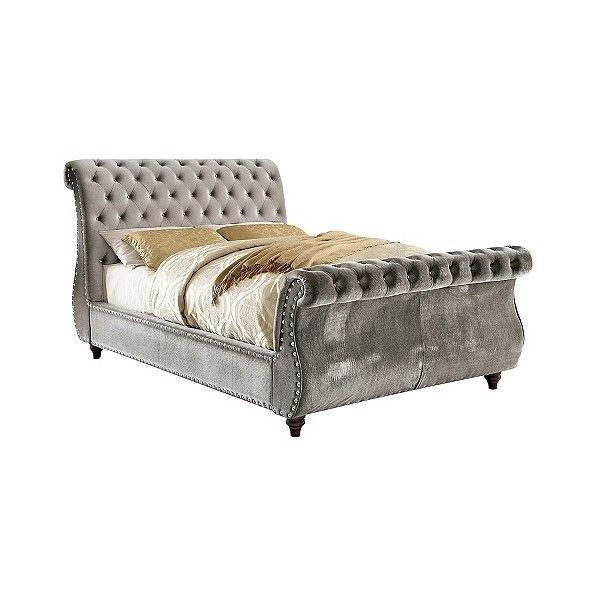 Adeline Modern Padded Fabric Sleigh Bed ($1,235) ❤ liked on Polyvore featuring home, furniture, beds, sleek gray, grey tufted bed, fabric headboard, tufted upholstered headboard, diamond tufted headboard and gray tufted bed