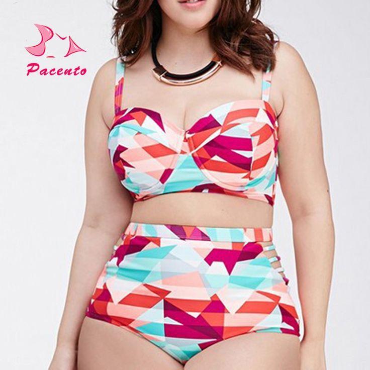 13.08$  Buy now - http://alip7w.shopchina.info/1/go.php?t=32797970294 - PACENT High Waisted Bathing Suit XXL XXXL Bikini Set Women Swimwear Plus Size Maillot Female Halter Swimsuit Push Up Plavky 4XL 13.08$ #buyonlinewebsite