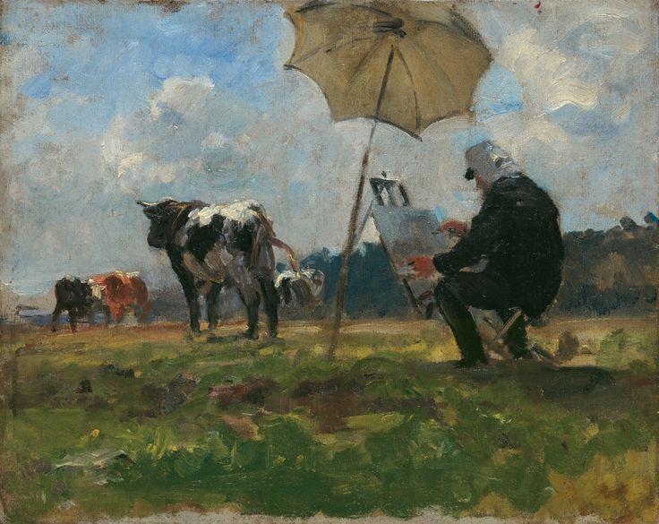 Henri MICHEL-LEVY (1844-1914), Le Peintre Eugène Boudin peignant des animaux dans la prairie de Deauville, 1880, huile sur toile, 22 x 27 cm. Legs Eugène Boudin, 1899. © Honfleur, musée Eugène Boudin / Henri Brauner