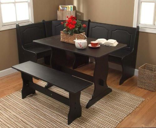 This charming 3-piece Nook Dining Set will help you create an inviting family atmosphere in your kitchen or dining area. This set will fit snugly in any corner,