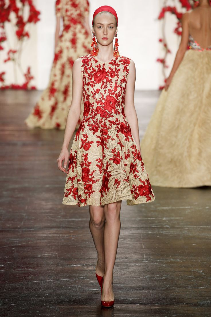 Red and Beige Sleeveless Cocktail Dress by Naeem Khan Spring 2016 Ready-to-Wear Collection Photos - Vogue