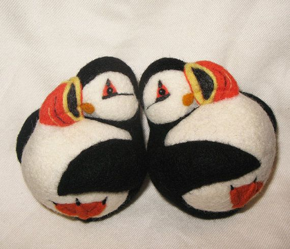 Puffin needle felted wool ball child friendly art toy by roommate, $43.00