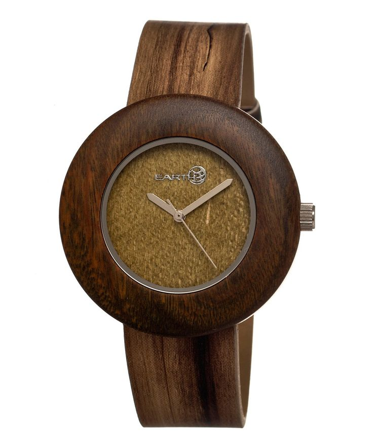 Look at this EARTH wood watches Olive Ligna Leather-Strap Watch on #zulily today!
