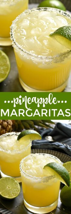 These Pineapple Margaritas are a deliciously sweet, refreshing twist on the original! Made with just 4 simple ingredients and perfect for happy hour, weekends, and all summer long!