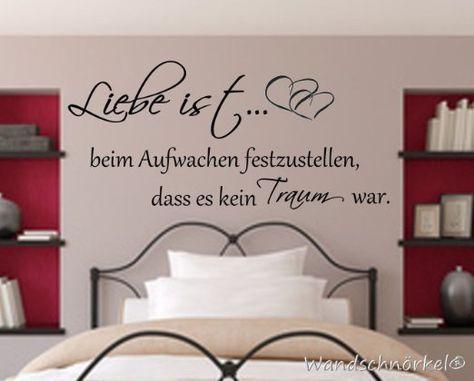 Wandtattoo Schlafzimmer Spruch ++Liebe ist beim Aufwachen - wandtattoo schlafzimmer sprüche