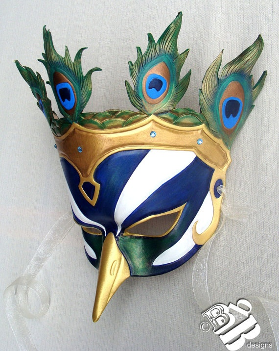 Queen of the Greek Pantheon Hera Peacock Leather Mask by B3leatherdesigns