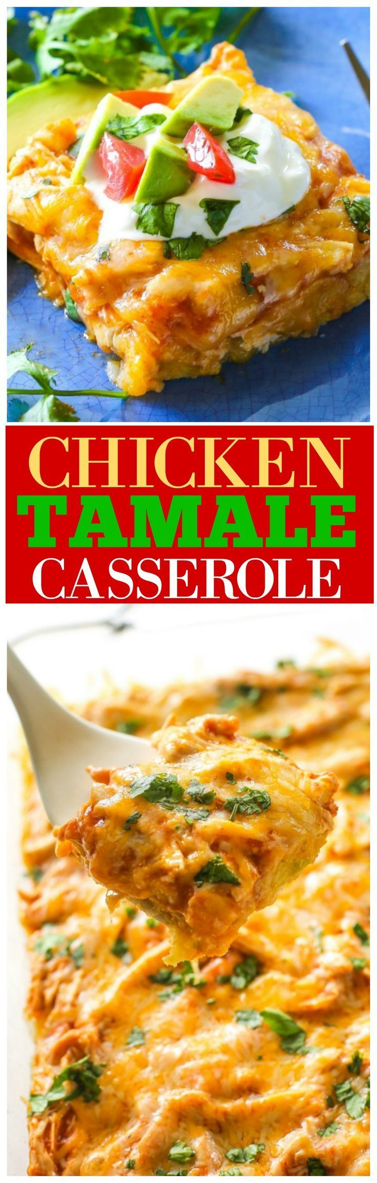 Chicken Tamale Casserole - a sweet cornbread crust topped with enchilada sauce and chicken. This is a crowd pleaser! http://the-girl-who-ate-everything.com