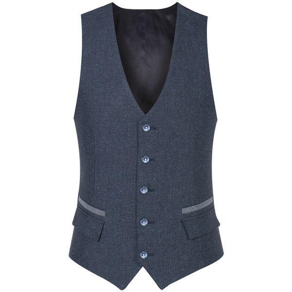 Petrol Wool Silk Linen Waistcoat ($205) ❤ liked on Polyvore featuring outerwear, vests, linen waistcoat, blue vest, wool waistcoat, woolen vest and holiday vest