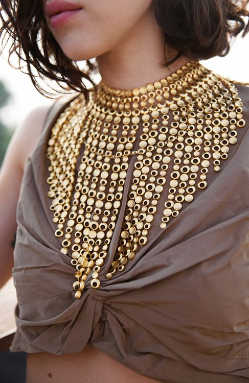 statement necklace in gold boho