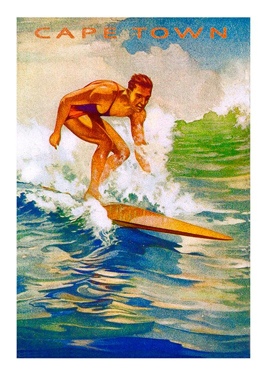 Surfing Vintage Poster, available at 45x32cm. This poster is printed on matt coated 350 gram paper.
