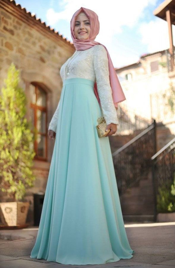 Pınar Şems - Üstü Dantelli Mint Elbise
