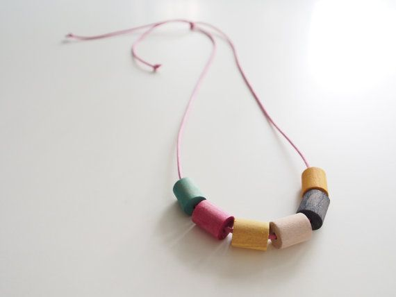 Hand painted timber bead necklace by objectsbybrooke on Etsy, $35.00