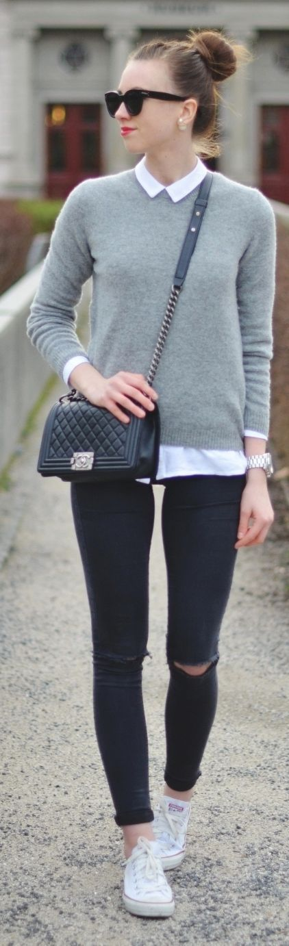 Vogue Haus: white collared blouse + sweater + black skinnies + white converse// Classic Look