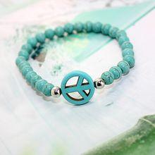 Sideways vrede kruis armband handgemaakte turquoise stone stretch kralen armbanden voor vrouwen meisje kids vriendschap charm sieraden(China (Mainland))