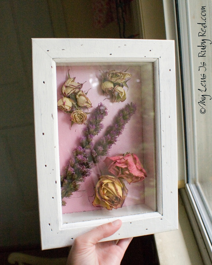 Valentine flowers in a shadow box