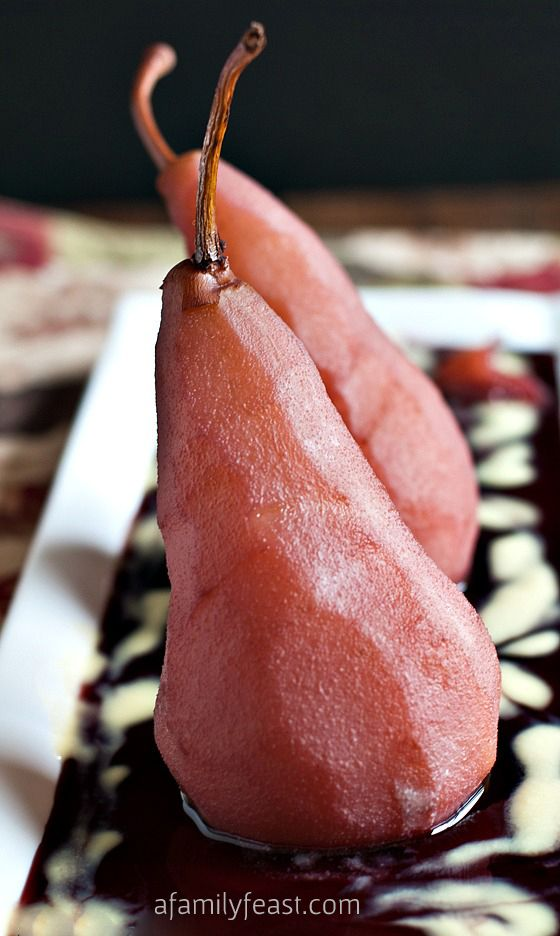 Poached Pears in Red Wine with Vanilla Custard Sauce - A delicious and elegant recipe that is perfect for a Valentine's dinner or other very special occasion!