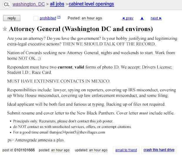 Seeking Attorney! Startling New Craigslist Ad Surfaces This administration really does rely too heavily on the internet.