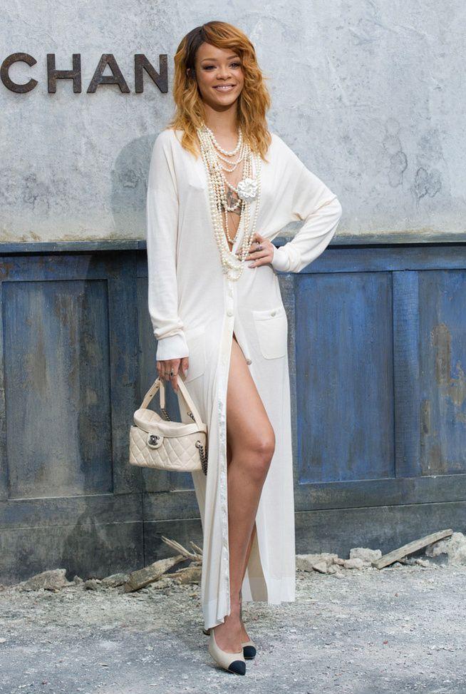 La robe chemise de Rihanna au défilé Chanel haute couture