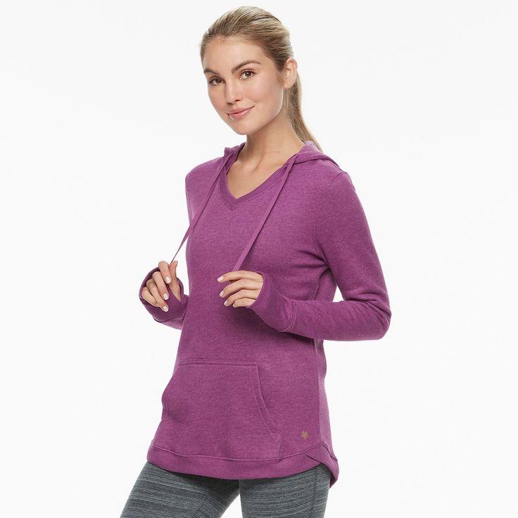 Women's Tek Gear V-Neck Fleece Hoodie, Med Purple
