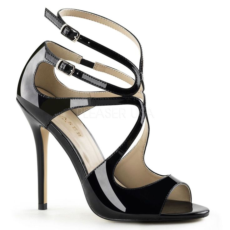 Details about Pleaser 5″ Spike Stiletto Heel Shiny Black Strappy Buckle Peep Toe Sandals 5-16 – A.C.Gibbs