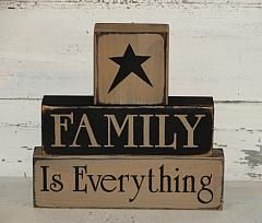 Family Is Everything Primitive Wood  Block Set                                                                                                                                                                                 More