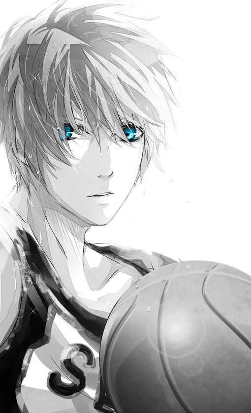 Kuroko no Basket, Kuroko no Basuke, Kuroko's Basketball.  But nice popping colors in the eye. Gives you the idea to make almost all of your art work a grey scale and put one thing a piping color. #anime #manga