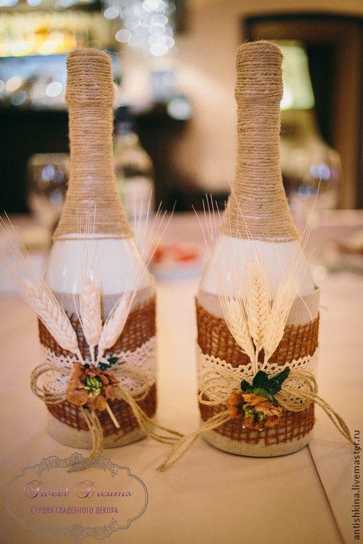 """Купить Оформление шампанского """"Осень"""" - коричневый, оформление бутылок, свадебные бутылки, бутылки рустик"""