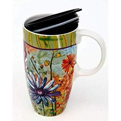 Watercolor Ceramic Mug Flowers Travel LidMugs With R35qjLAc4
