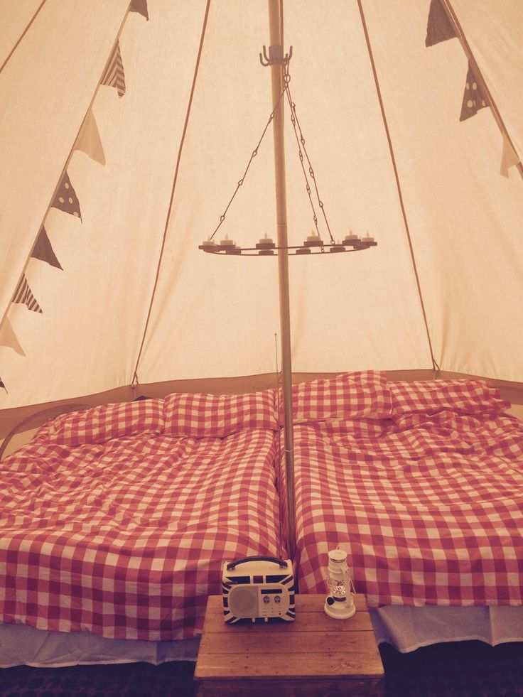Bell tent glamping - red interior #marietompson