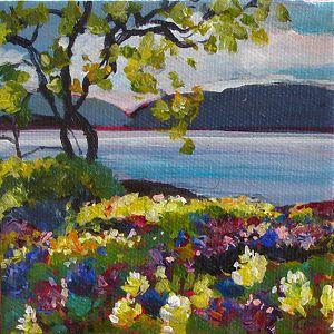 "2012, Heron Rocks Meadow by Coral May Barclay Acrylic ~ 4"" x 4"""