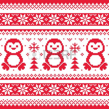 Christmas, winter knitted pattern with penguins - Scandinavian..