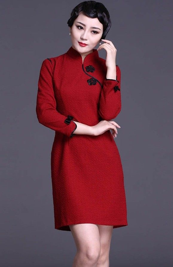 Red Long Sleeve Chinese Qipao / Cheongsam Dress