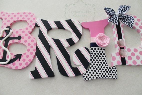 Hand Painted Personalized Wooden Letters Pink Navy por KraftinMommy