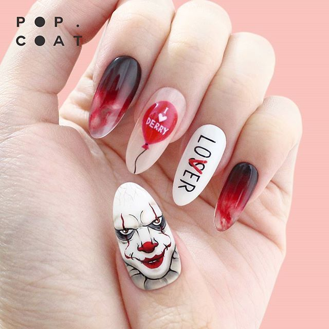 Illustrated Nails V Instagram It Pennywise The Clown With 3d Balloon And Clear Tips For Halloween Par Halloween Nails Horror Nails Halloween Nail Designs