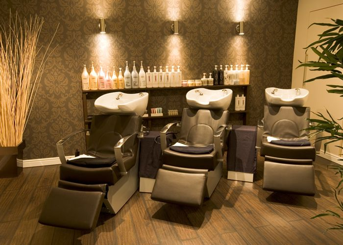 Like the natural feel and earth tones by the shampoo bowls....sets up a nice relaxing feel!  Shampoo room