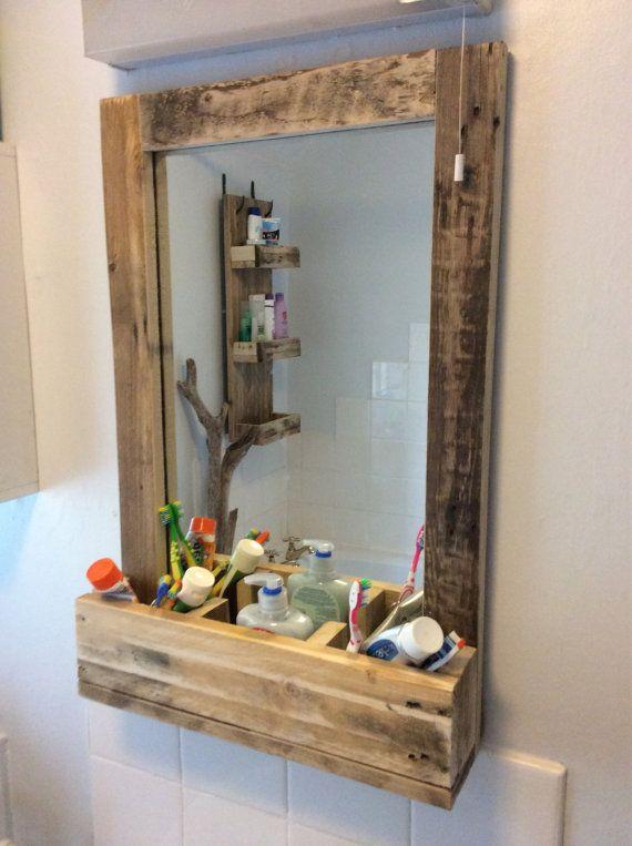 Bathroom Mirror made from reclaimed pallet wood with 3 sections for storage
