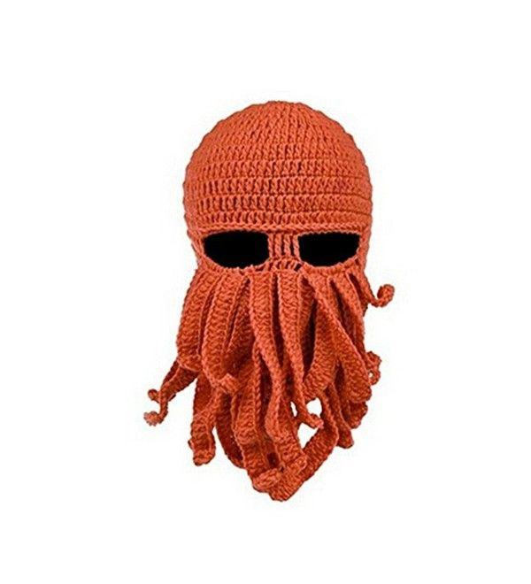 90f998990f5ae Windproof Octopus Winter Warm Knitted Wool Beard Squid Beanie Hat ...