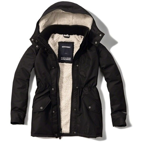 Abercrombie & Fitch All-Season Weather Warrior Sherpa Lined Parka (77 AUD) ❤ liked on Polyvore featuring outerwear, coats, jackets, sweaters, sweatter, tops, black, parka coat, zipper coat and hooded coat