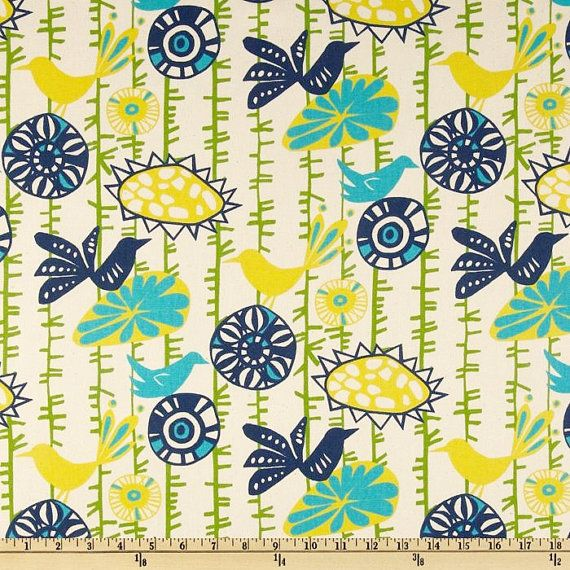 Home Decor Fabric by the Yard Premier Prints Menagerie Sunshine birds flowers yellow blue green turquoise  - 1 yard or more - SHIPS FAST