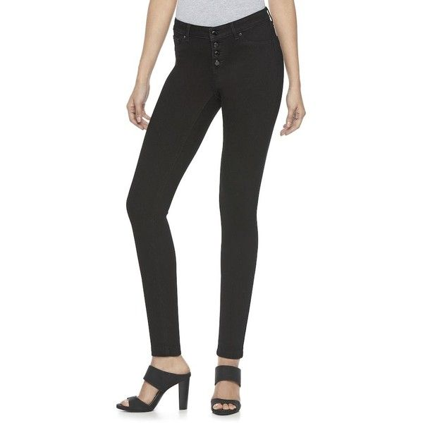 Women's Jennifer Lopez Super Stretch Skinny Jeans ($37) ❤ liked on Polyvore featuring jeans, black, mid rise skinny jeans, jennifer lopez jeans, super distressed skinny jeans, stretch jeans and distressed skinny jeans