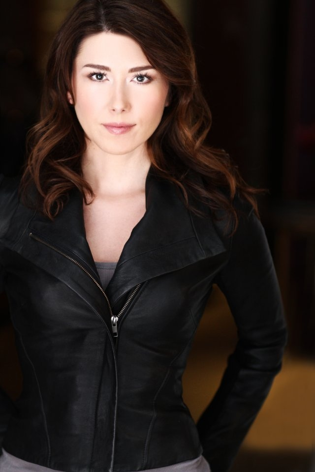 Jewel Staite  Love this leather jacket....
