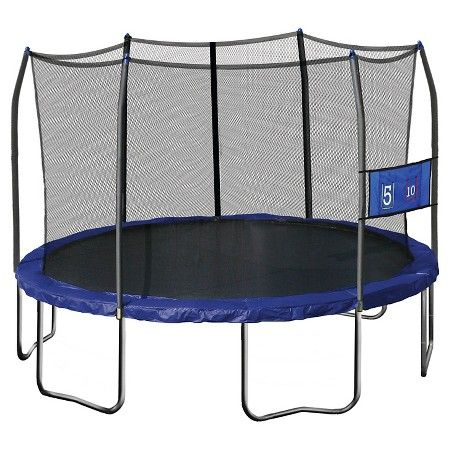 "Skywalker Trampolines 12"" Round Jump-N-Toss Trampoline with Enclosure - Blue : Target"