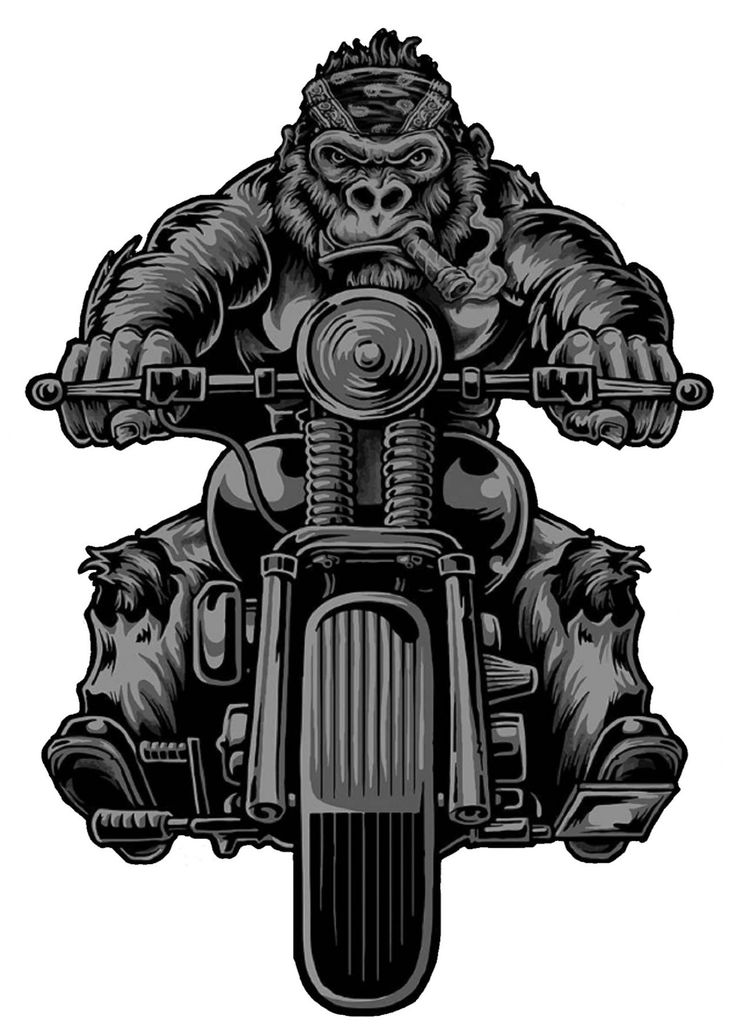 'Gorilla Biker' Tattoo Design.    http://shirtstation.de/gorilla-biker/ and/or http://gorillafashion.de/Gorilla-Biker/en