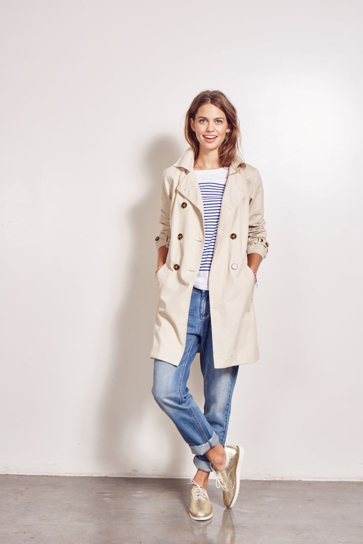 Our Zoe Stripe Top paired with Boyfriend Jeans and Trench Coat is the perfect spring outfit #myhush