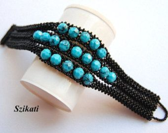 Multicolor Statement Seed Bead Cuff Bracelet Beadwork by Szikati