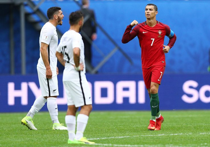 Cristiano Ronaldo Photos Photos - Cristiano Ronaldo of Portugal celebrates scoring his sides first goal during the FIFA Confederations Cup Russia 2017 Group A match between New Zealand and Portugal at Saint Petersburg Stadium on June 24, 2017 in Saint Petersburg, Russia. - New Zealand v Portugal: Group A - FIFA Confederations Cup Russia 2017